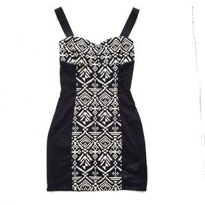 H & M Divided Black Dress with Tribal Print